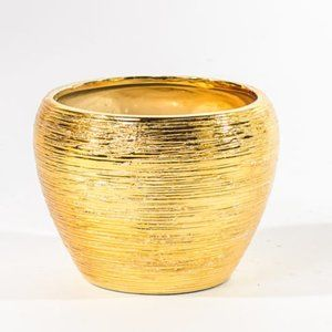 Round Modern Metallic Gold Ribbed Plant Vase / Pot